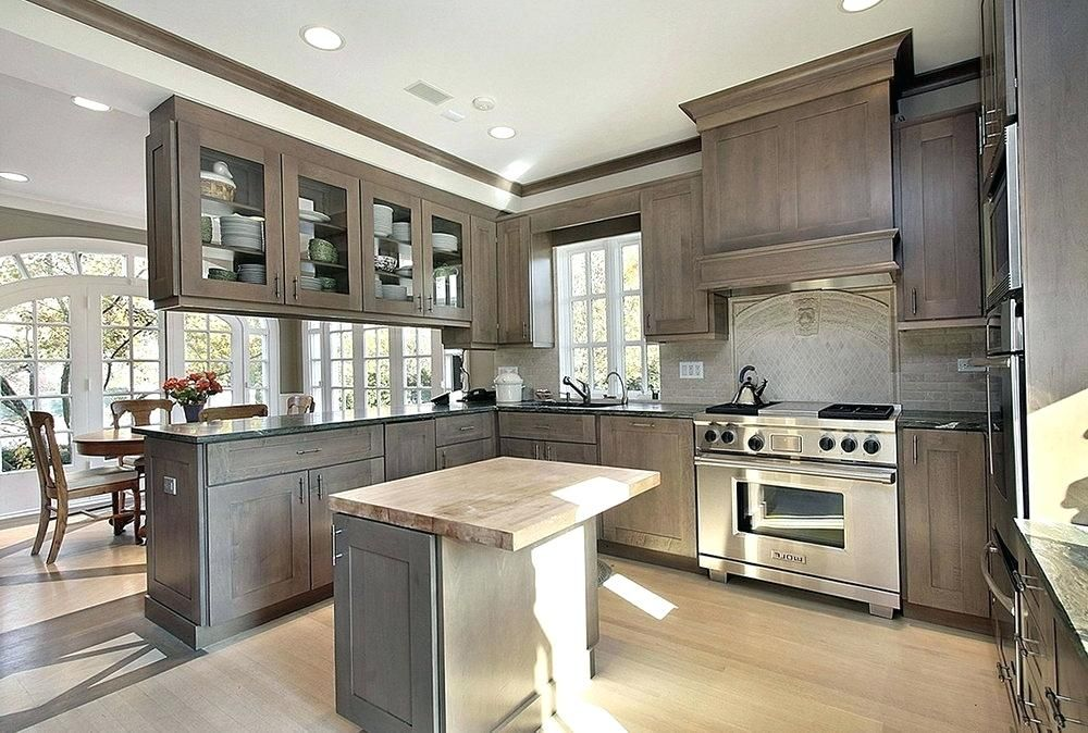 Cabinets Close To Maple With Flint Stain Stained Kitchen Cabinets Kitchen Design Gray Stained Cabinets
