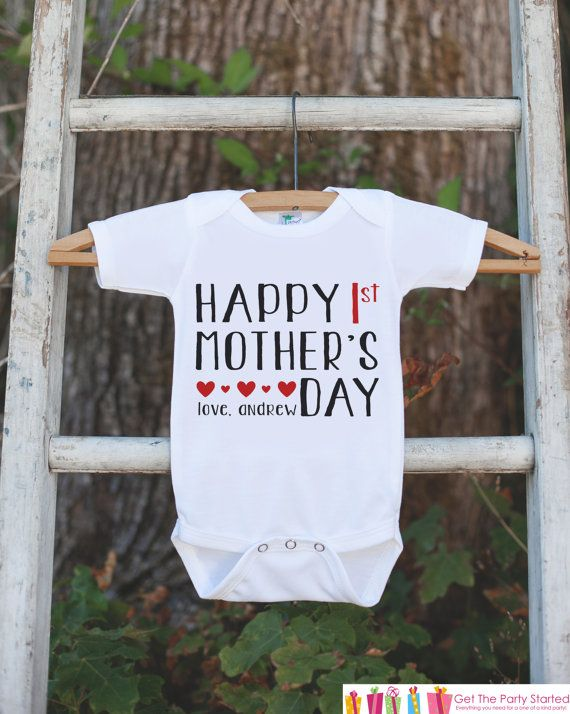 Happy 1st Mother's Day Outfit - Kid's Happy Mother's Day Onepiece or Tshirt - Baby Girl or Boy Outfit - Mommy Gift Idea - First Mothers Day