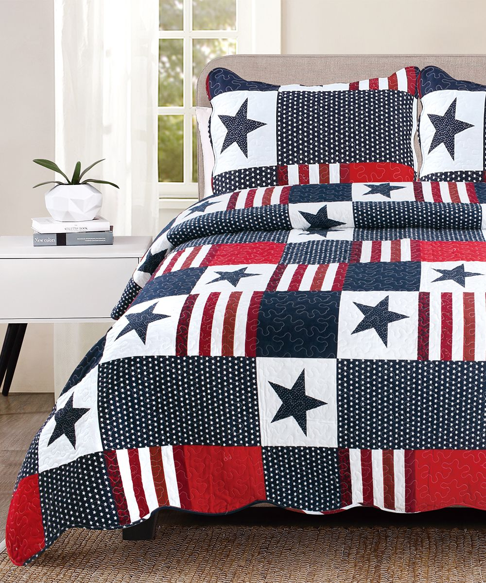 Red White Blue Americana Quilt Set 24 79 One Day Only Hurry