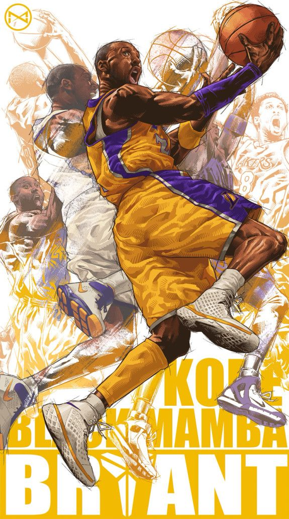 Kobe Bryant Career Montage Illustration E1437146694888 Jpeg 575 1031 Avec Images Joueurs De La Nba Football Dessin