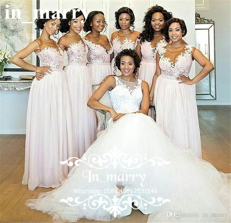 Cheap Blush Pink Plus Size Country Bridesmaids Dresses 2017 A Line ...