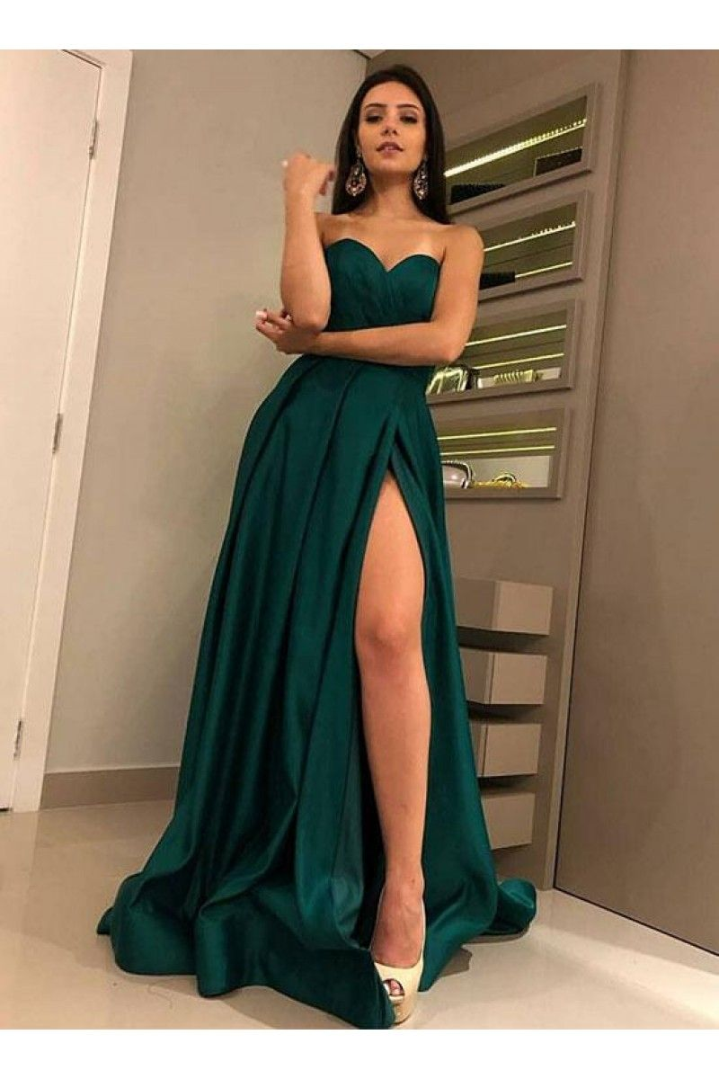 Simple sweetheart neck long prom dress, green evening dress N13