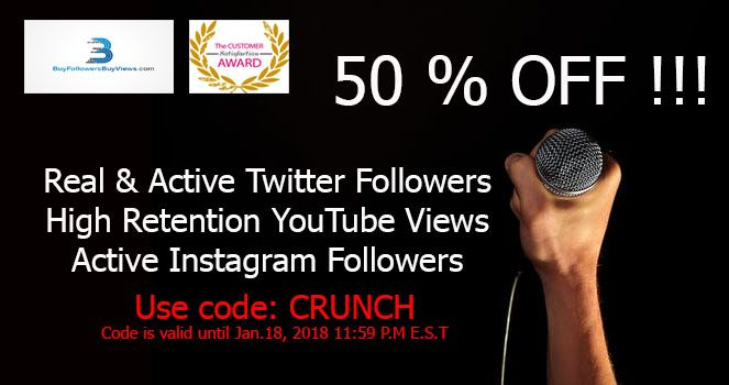 50% OFF!!! Buy Real and Active Twitter Followers Buy High Retention Youtube Views Buy Real and Active Instagram followers Use Promo Code: CRUNCH #SEO #GrowthHacking #DigitalMarketing #MakeYourOwnLane #Coupons #Discounts #Sales #Promo #Twitter #YouTube #Instagram