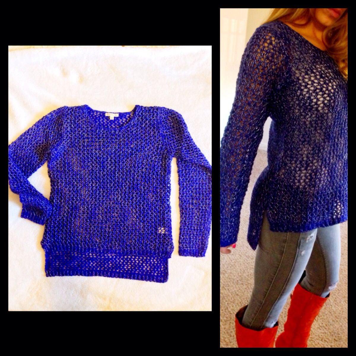 Royal blue sweater with silver metallic yarn $26 www.royceclothing ...