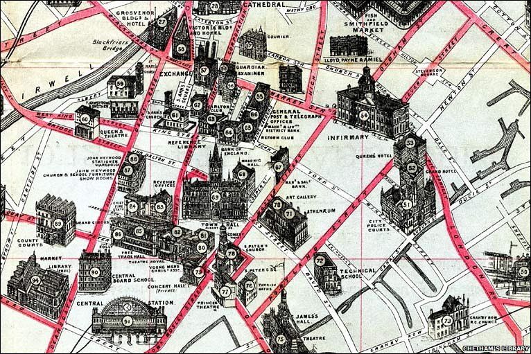Excerpt From Pictorial Map Of Manchester And Salford John Heywood