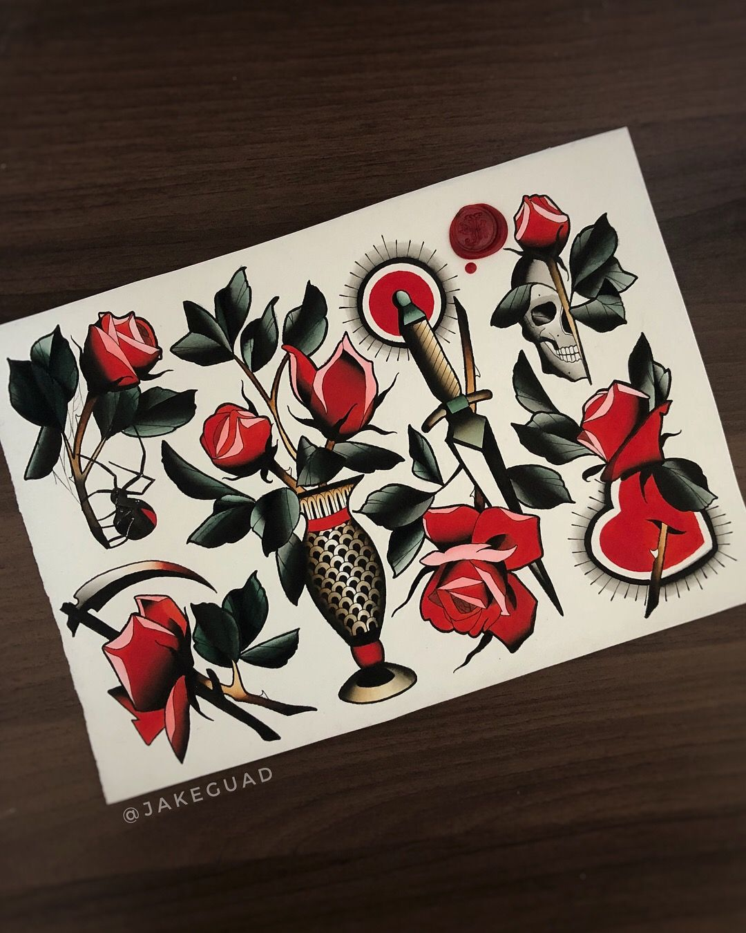 Rose Neo Traditional Tattoo Painting By Jake Guad Traditional