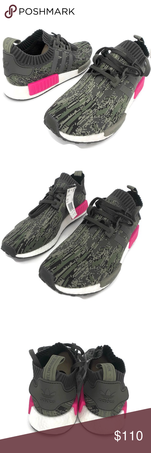0e20e12a5e843 Adidas NMD R1 PK Utility Grey Camo Shock Pink S12  NEW WITH TAGS  Adidas