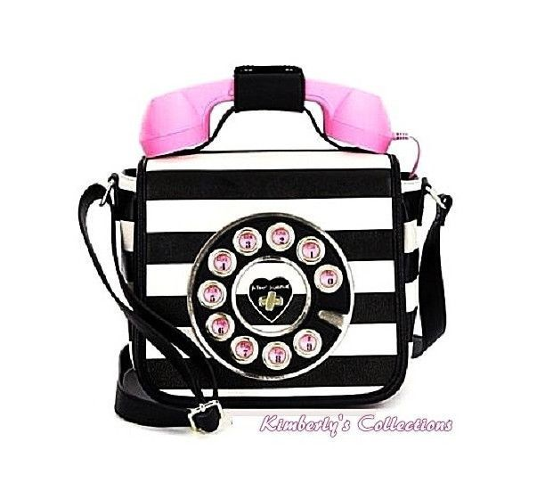 Betsey Johnson Call Me Baby Pink Black Phone Crossbody Bag Purse Handset Nwt Betseyjohnson Shoulderbagcrossbodybag