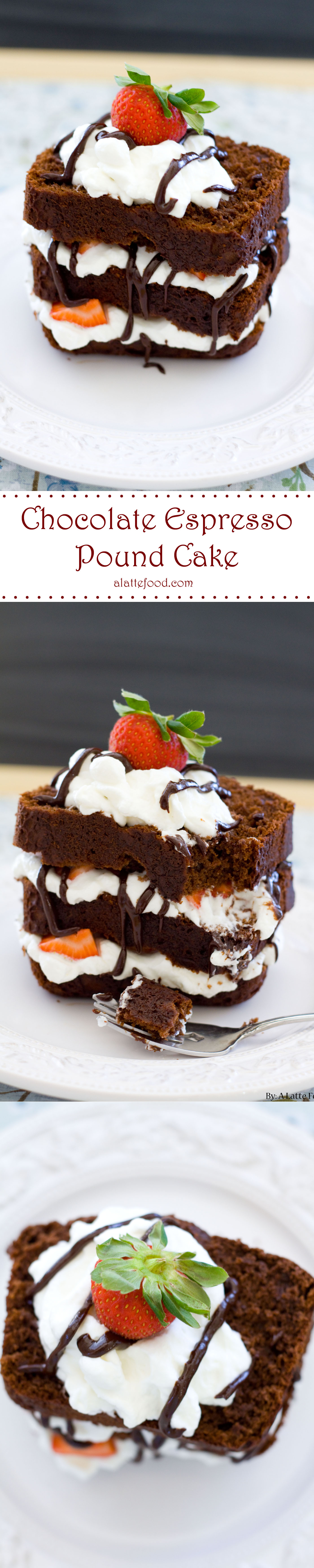 Chocolate Espresso Pound Cake: This chocolate espresso pound cake is rich, decadent, and absolutely chocolatey! With homemade whipped cream, fresh strawberries, and chocolate ganache, this is a perfect Valentine's dessert!