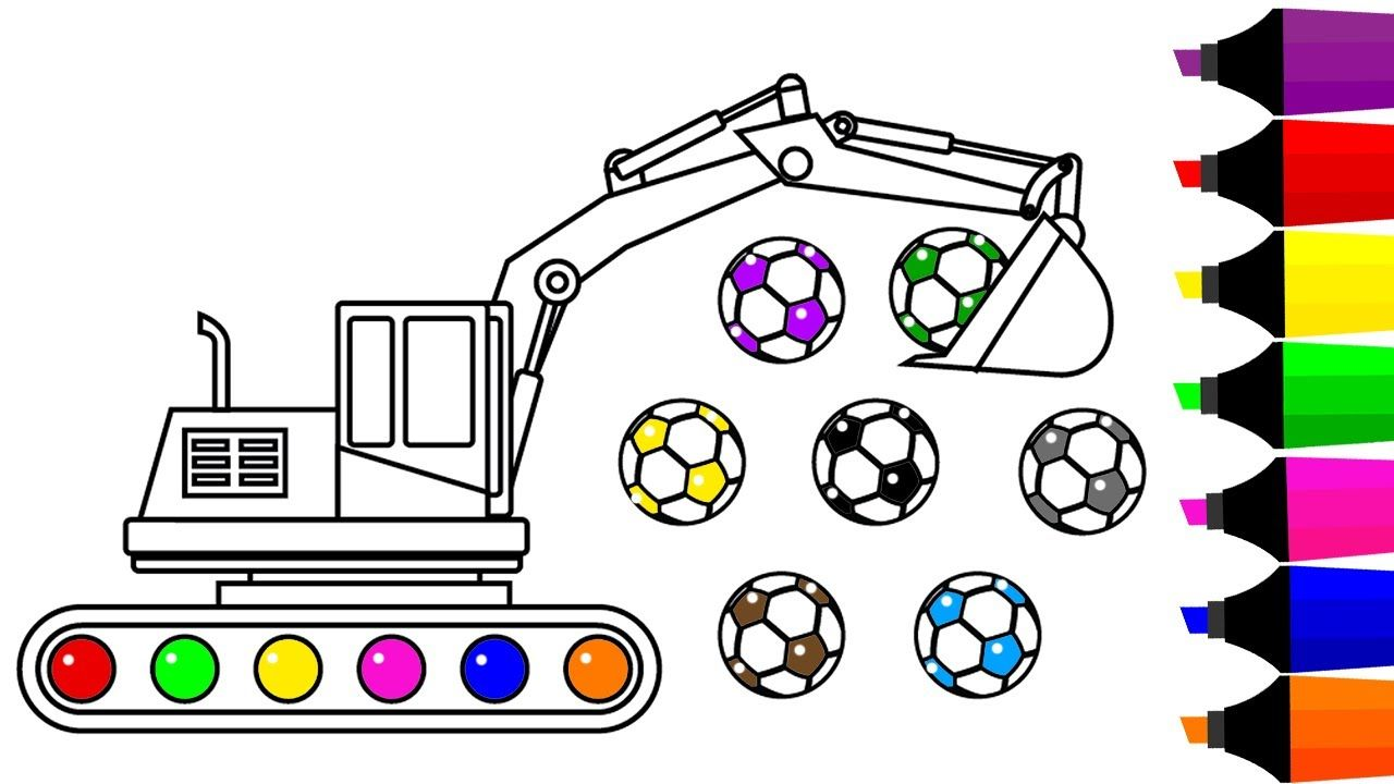Learn Colors For Kids With Excavator Truck Coloring Pages Fun
