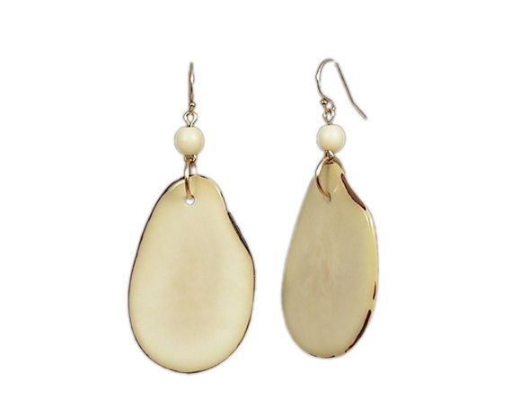 Gold-Filled Ear Wires Green Tagua Earrings Tagua Donut Earrings Tagua Nut Earrings