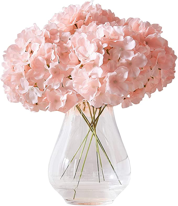 Amazon Com Kislohum Artificial Hydrangea Flowers Blush Heads 10 Fake Hydrangea Silk Flowers For Wedd In 2020 Fake Hydrangeas Diy Floral Decor Silk Flowers Wedding Diy