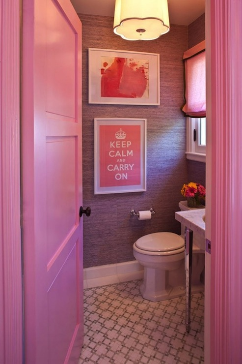 this bathroom has a monochromatic color scheme because it has different shades of pink this is a fun girly bathroom the hue is a bright pink color