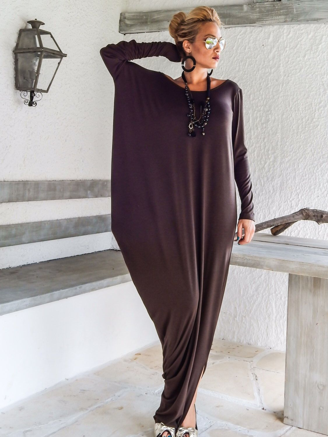 Brown Maxi Long Sleeve Dress / Brown Kaftan / Asymmetric Plus Size Dress / Oversize Loose Dress / #35050 by SynthiaCouture on Etsy https://www.etsy.com/listing/207120775/brown-maxi-long-sleeve-dress-brown