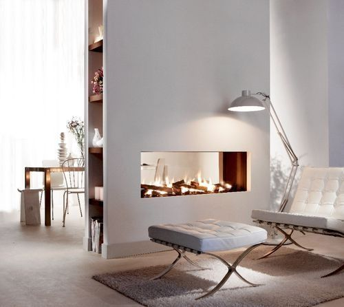 Floating Wall Double Sided Horizontal Fireplace
