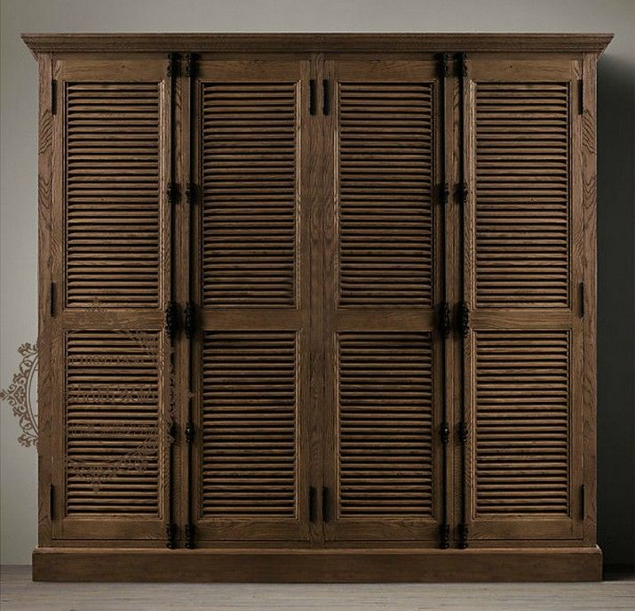 Fresh French oak American country to do the old retro closet two shutters wardrobe solid wood wardrobe closet four Top Design - Lovely Solid Wood Closet Doors Simple