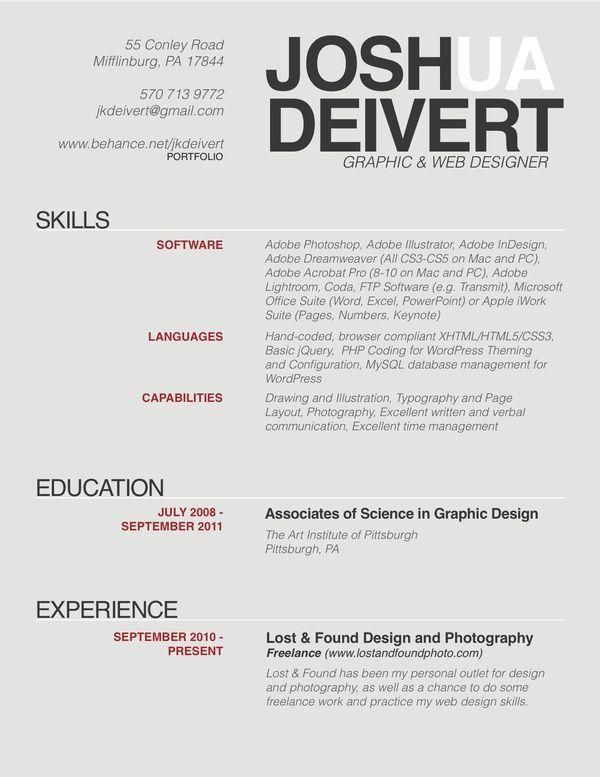 resume by joshua deivert  via behance