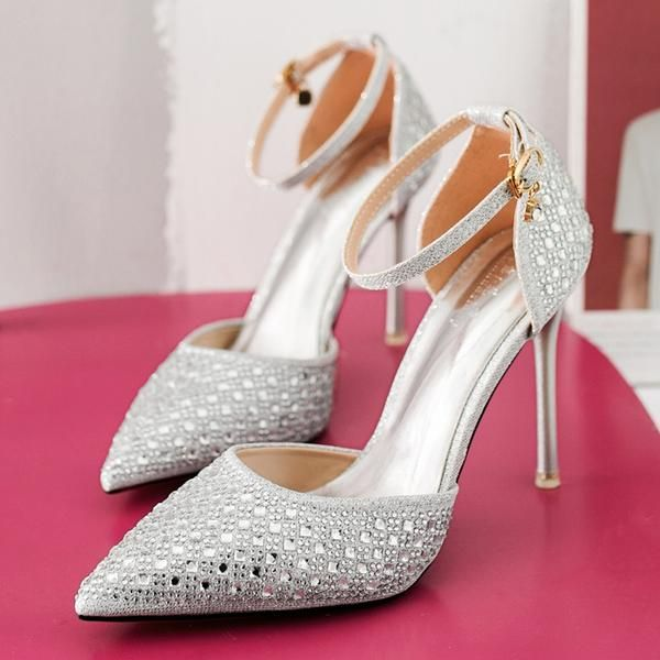 fc264141a6 Rhinestone Decorate Ankle Wrap Pointed Toe Stiletto High   Party ...