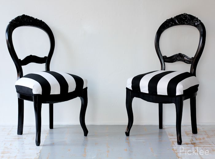 Jet Black Lacquer Painted Chairs In Upholstered In Beautiful Black And White  Stripped Fabric!