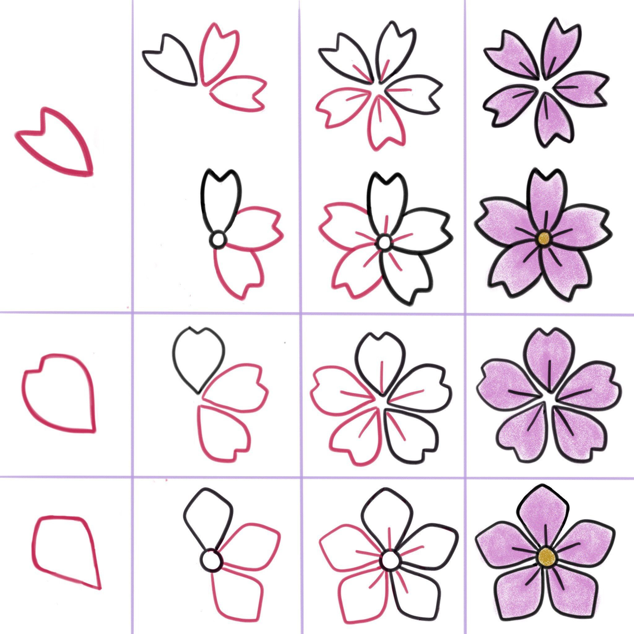 Pin By Amy Christensen On Doodle Patterns In 2021 Flower Doodles Flower Drawing Cherry Blossom Painting