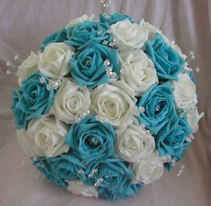 Artificial Turquoise White Foam Rose Wedding Flowers Brides Bouquet Posie