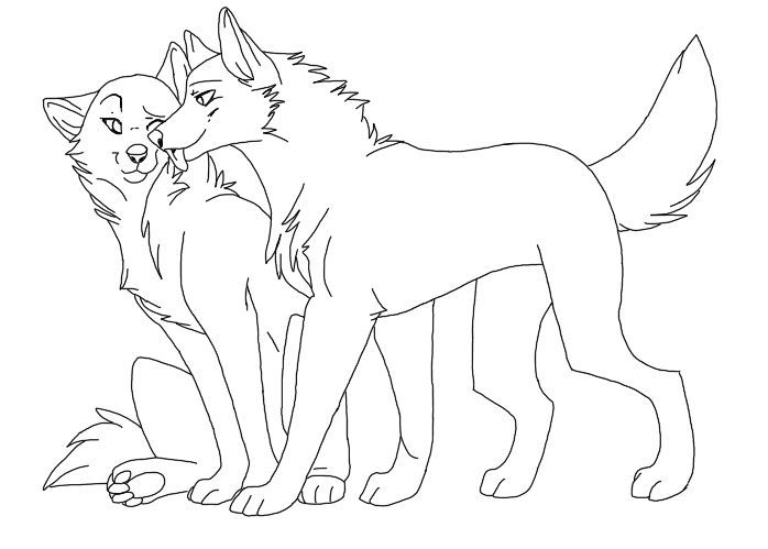 cute wolf couple drawing | Anime Wolves in 2019 | Animal ...