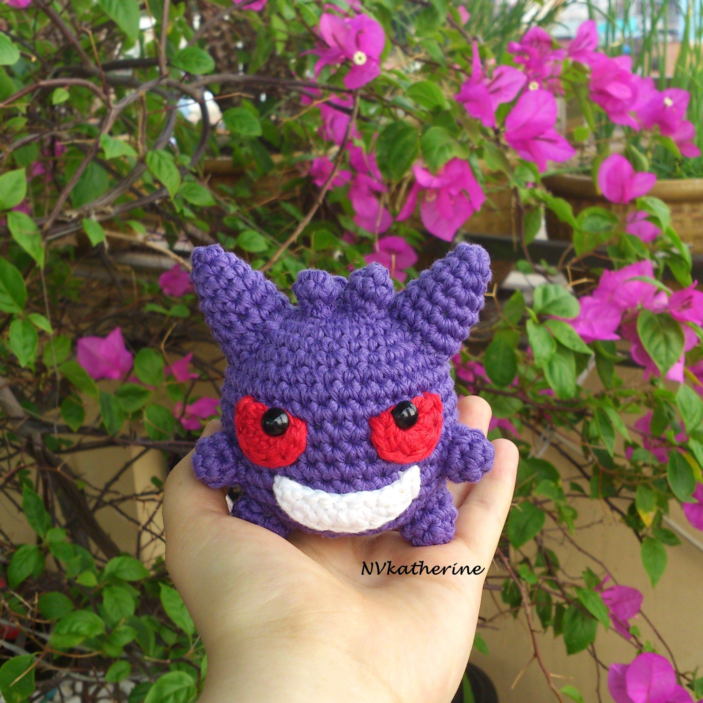 Chibi Gengar Made-to-order Crochet Amigurumi, Pokemon plush toy ...