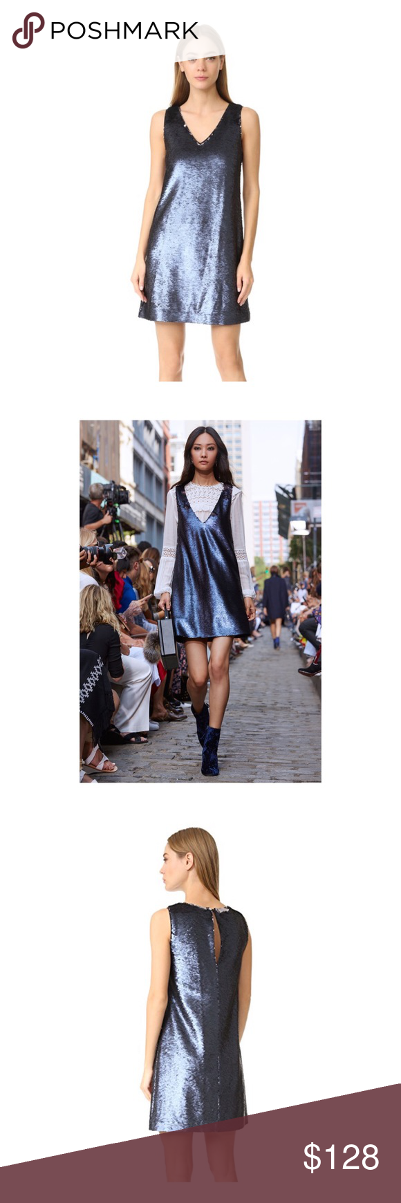 Rebecca Minkoff Claire Sequin Dress in Navy Get ready for the holidays in this adorable Rebecca Minkoff sequin dress. Figure skimming A-line silhouette. 2 Tone  sequins with one matt and one polished side. V-neck line. Button back closure. Brand new with tags. Rebecca Minkoff Dresses