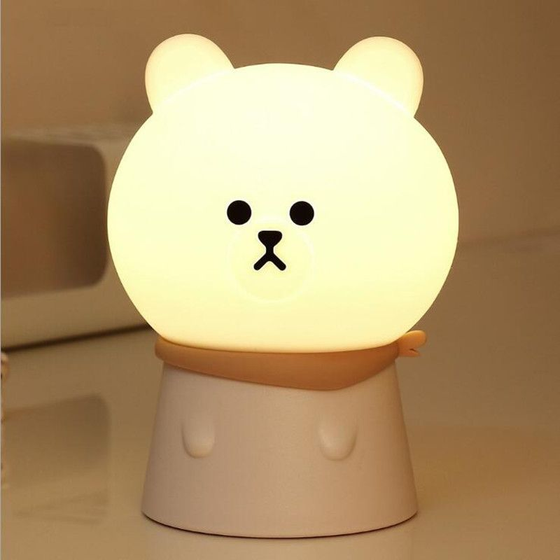 Warm Light Bear Silicone Led Night Light Rechargeable Touch Sensor Light 2 Modes Children Cute Night Lamp Bedroom Light Mood Lamps Night Light Lamp