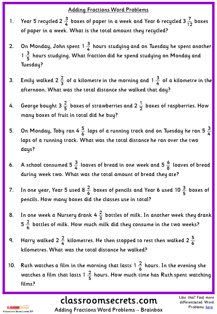 adding fractions word problems classroom secrets | Fraction ...