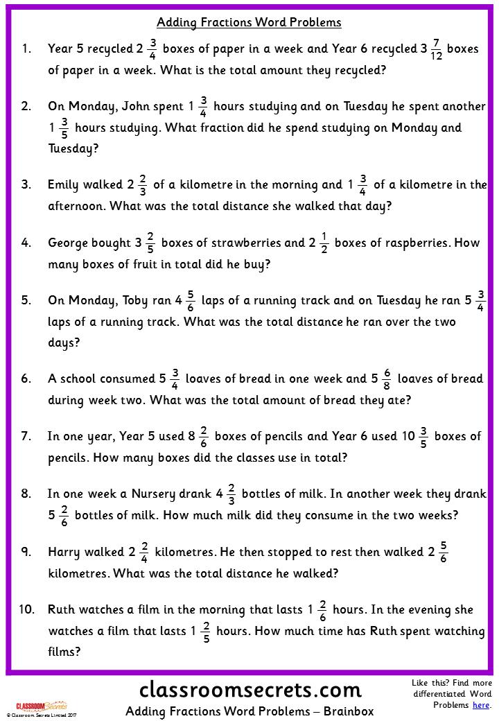 adding fractions word problems classroom secrets | ŠKOLA ...