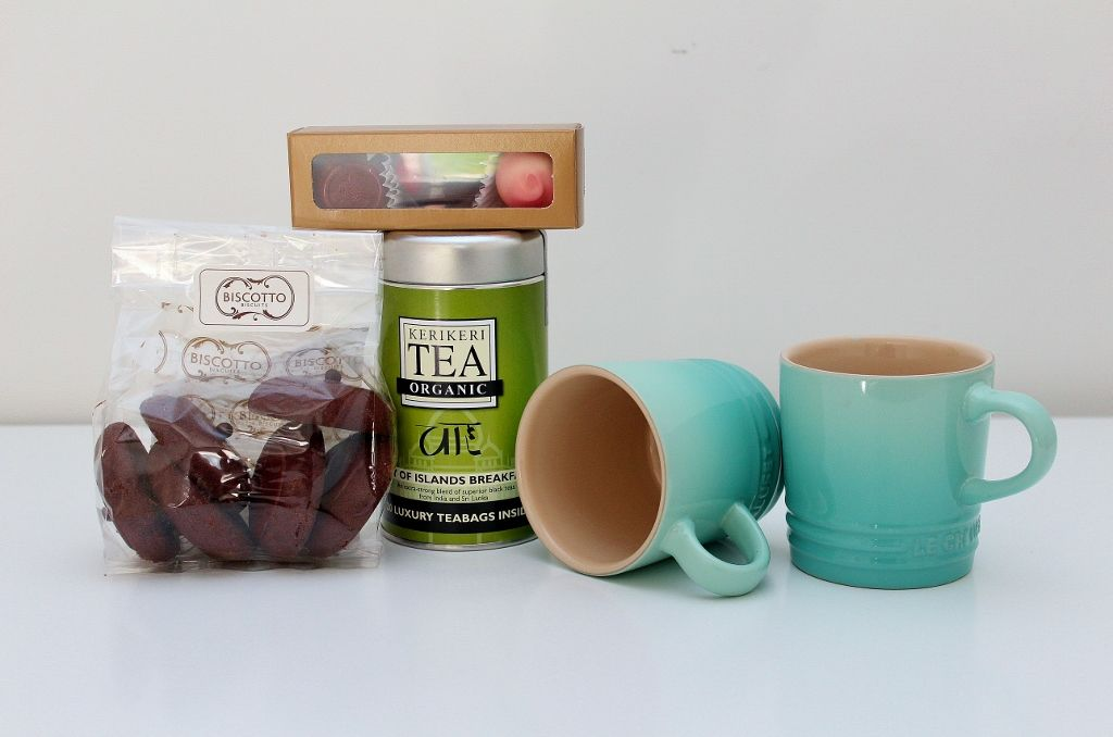 Tea Hampers With Le Creuset Cool Mint Mugs And Delicious Treats A Gift For Mum