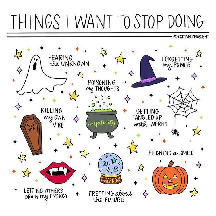 I Love These Halloween Themed Self Care Illustrations By Positivelypresent I Especially Love The Pa Bullet Journal Ideas Pages Self Care Activities Self Care