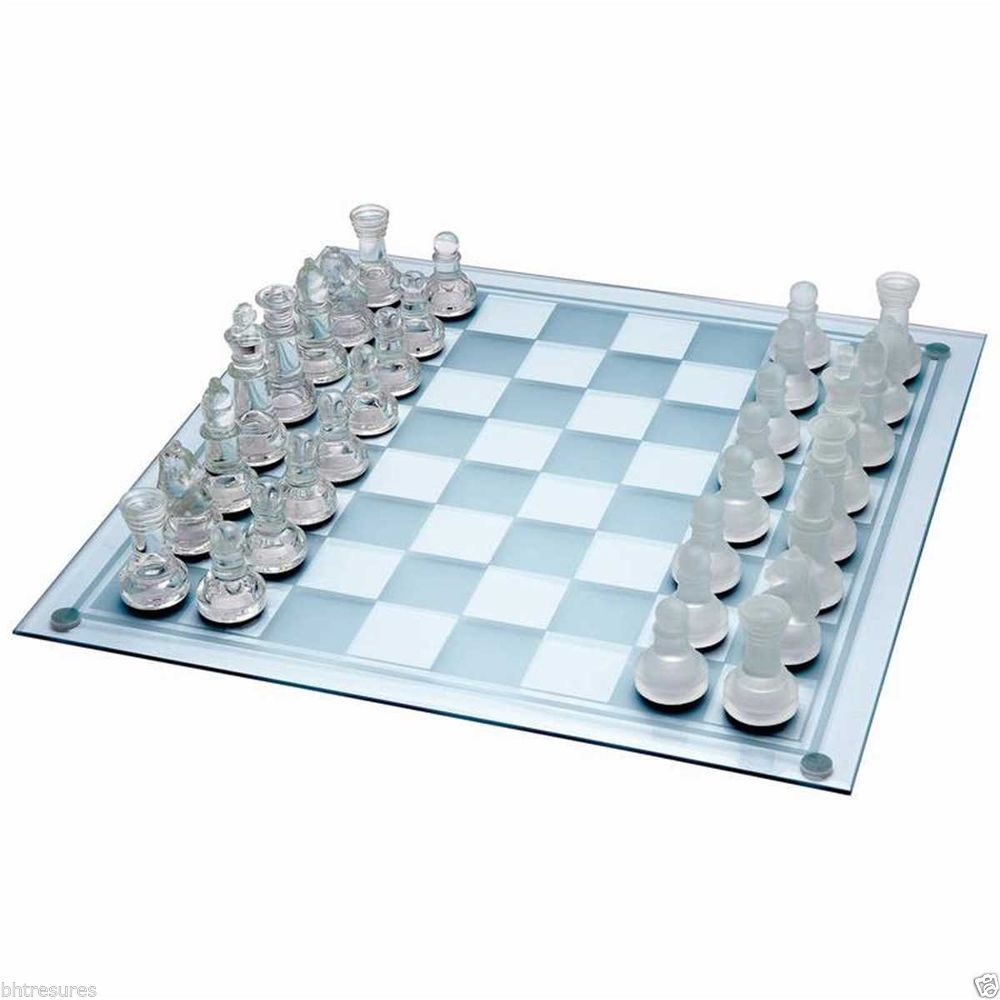 33pc Glass Chess Set by Maxam™ adds elegance to a classic challenging game #Chess #Game #Glass