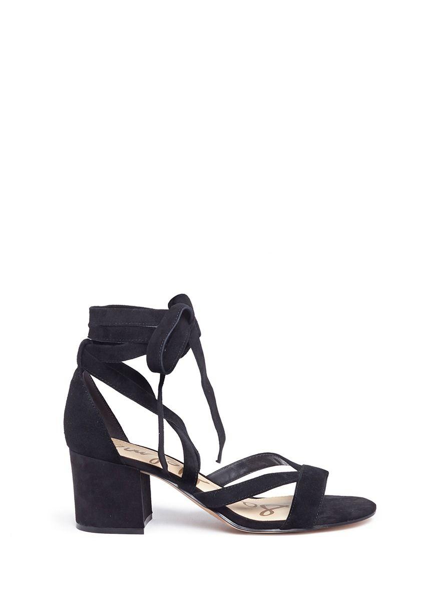 a5096ffe8ca SAM EDELMAN  Sheri  Ankle Tie Block Heel Suede Sandals.  samedelman  shoes
