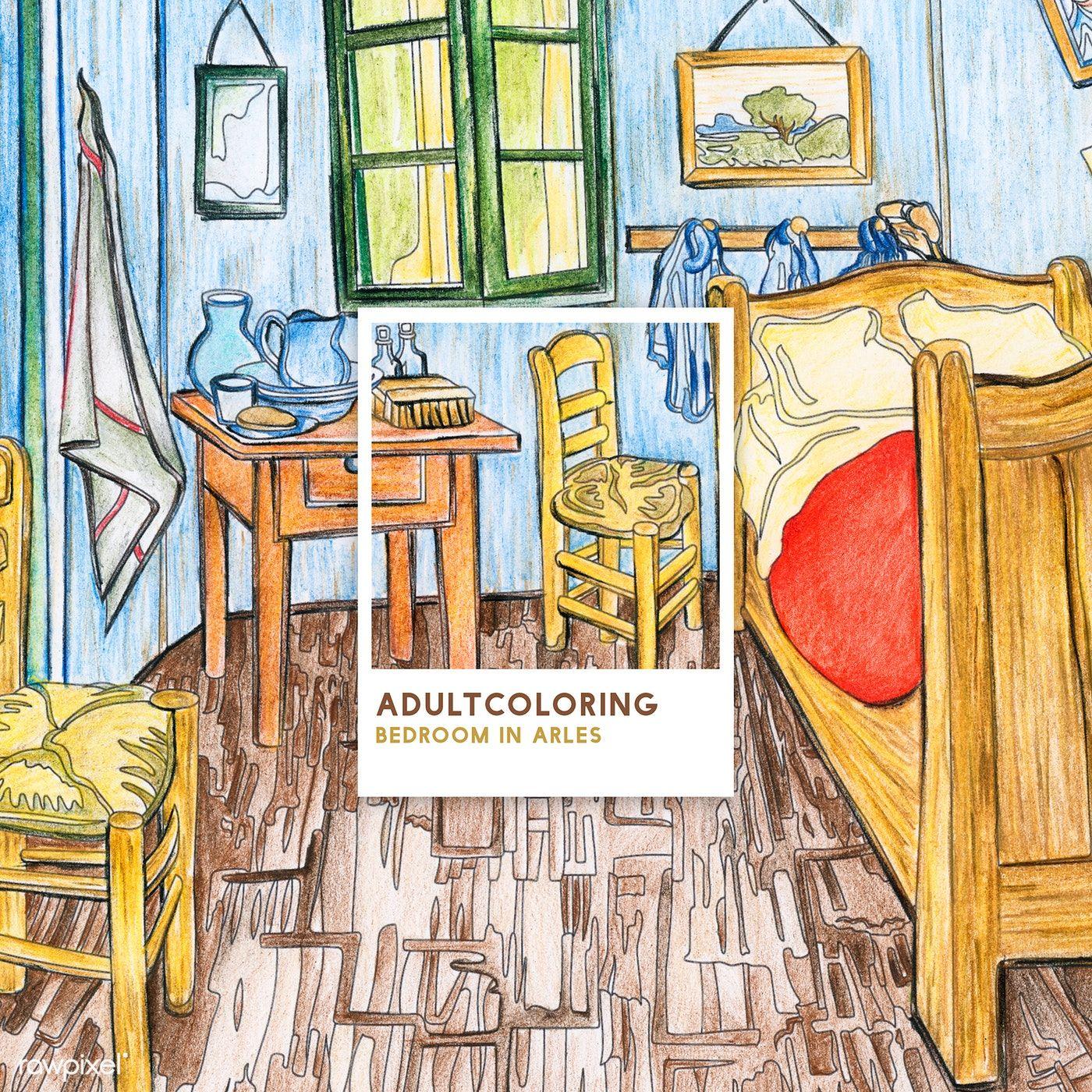 Bedroom In Arles 1888 By Vincent Van Gogh Adult Coloring Page