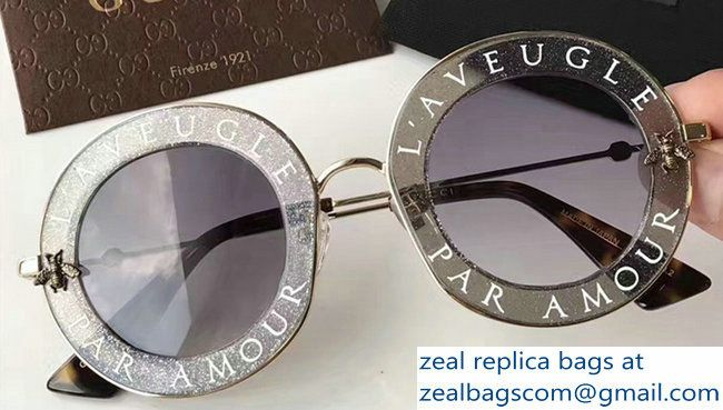 17d6dac89f5 Gucci L  Aveugle Par Amour Round Frame Metal Bee Detail Sunglasses 470459  Gary 2017