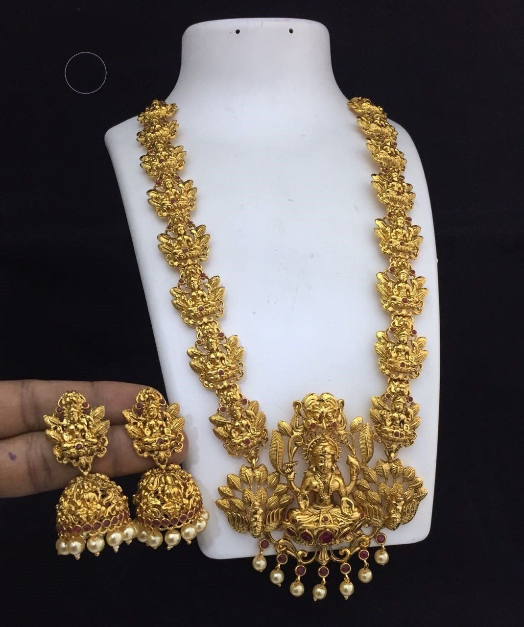 be5918b102 Golden Matte Finished Temple Jewelry with Earrings in 2019 ...