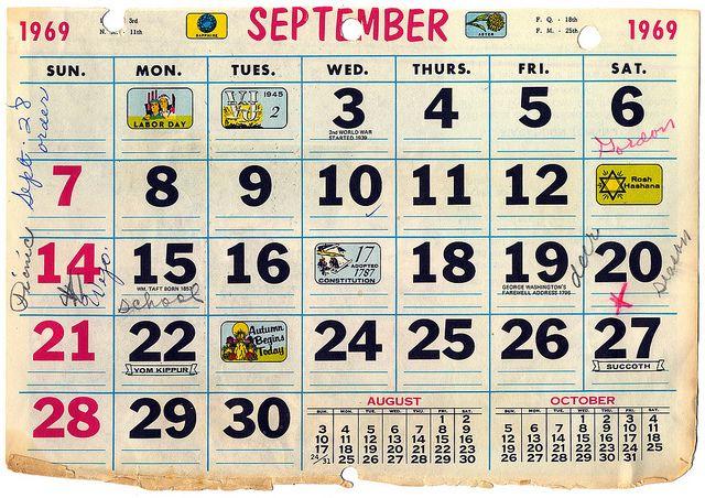 Calendar September 1969 Calendar Words Word Search Puzzle