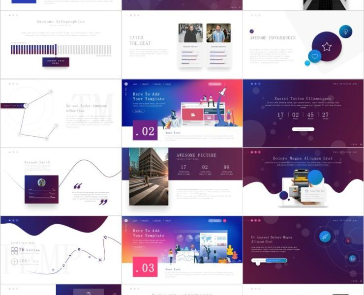 25+ Charts Infographics PowerPoint templates Blue gold