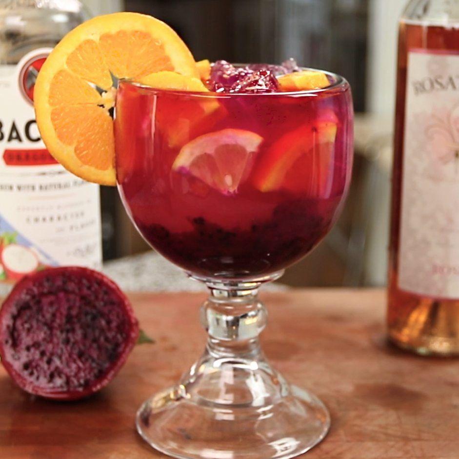 Dragon Fruit Sangria Tipsy Bartender Recipe Fruit Sangria Wine Recipes Drink Lemonade Cocktail Recipe