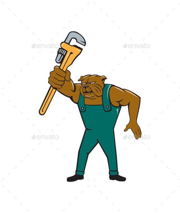Bulldog Plumber Monkey Wrench Isolated Cartoon Monkey Wrench Bulldog Cartoon Styles