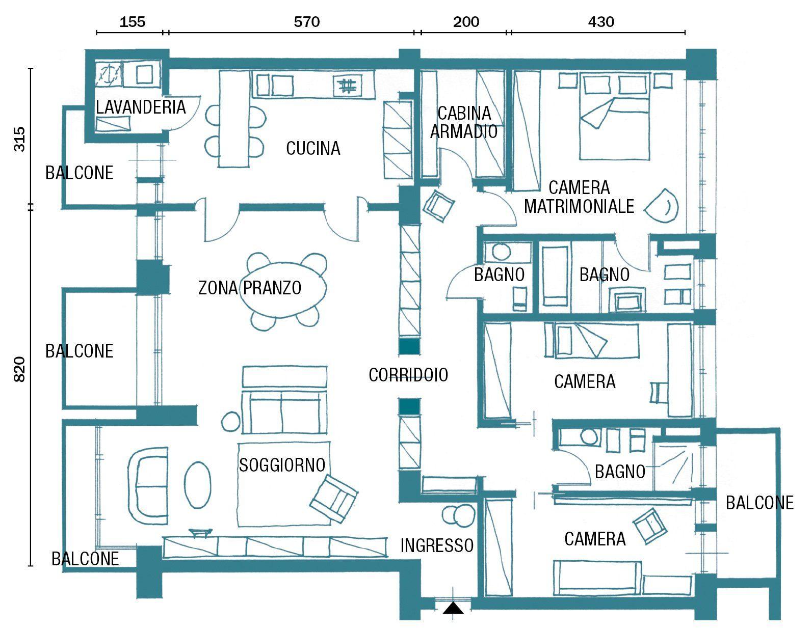 Planimetria Casa Con Misure 150 mq tutti da copiare: dalla divisione soggiorno-cucina