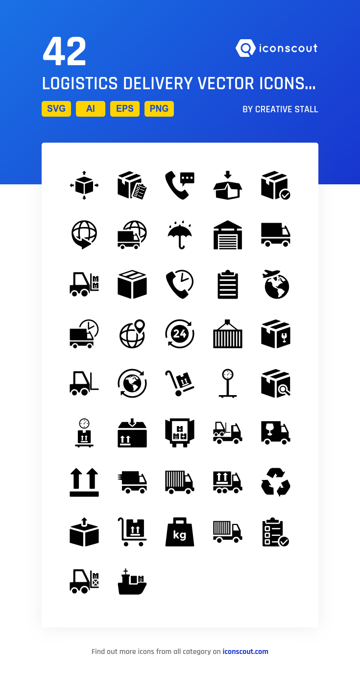 022be1d0a Logistics Delivery Vector Icons Icon Pack - 42 Solid Icons ...
