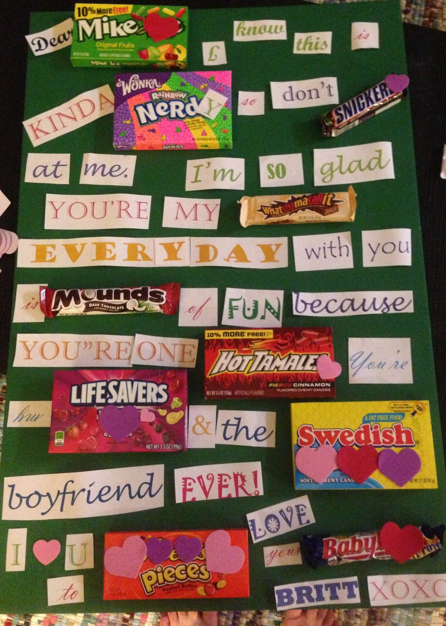 Valentines gift Use candies to write out a message to your – What to Write on a Valentines Card for Your Boyfriend