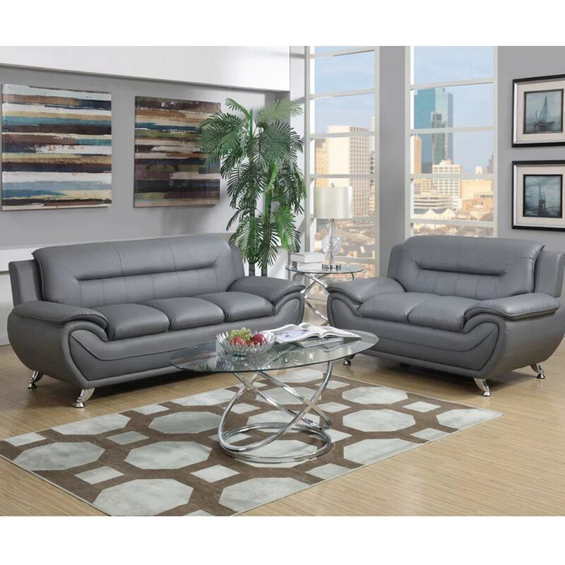 Stapp 2 Piece Faux Leather Living Room Set In 2021 Modern Living Room Set Living Room Leather Living Room Sets