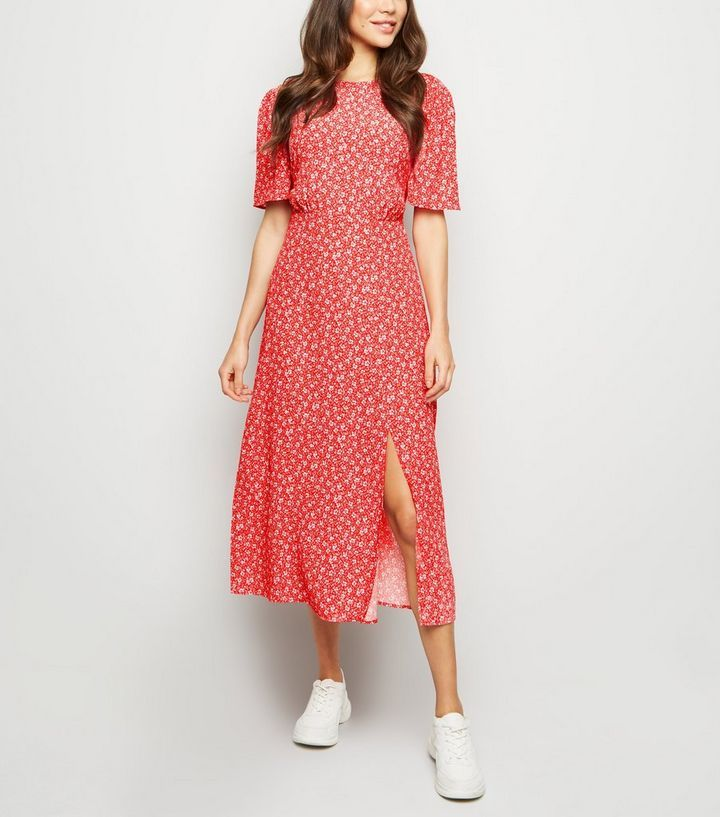 5051b90904fa Red Ditsy Floral Split Midi Dress in 2019 | what to wear? | Ditsy ...