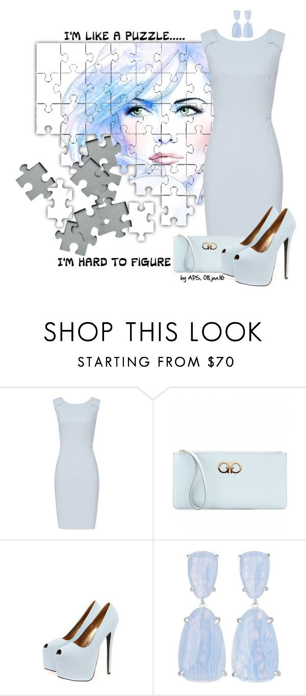 """SET #2129. Puzzled Mind"" by annasousa-1 ❤ liked on Polyvore featuring Reiss, Salvatore Ferragamo, Boohoo, Kendra Scott, women's clothing, women, female, woman, misses and juniors"