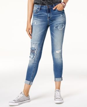 b75e33f01c2 Vanilla Star Juniors' Rip & Repair Embroidered Cuffed Jeans - Blue ...