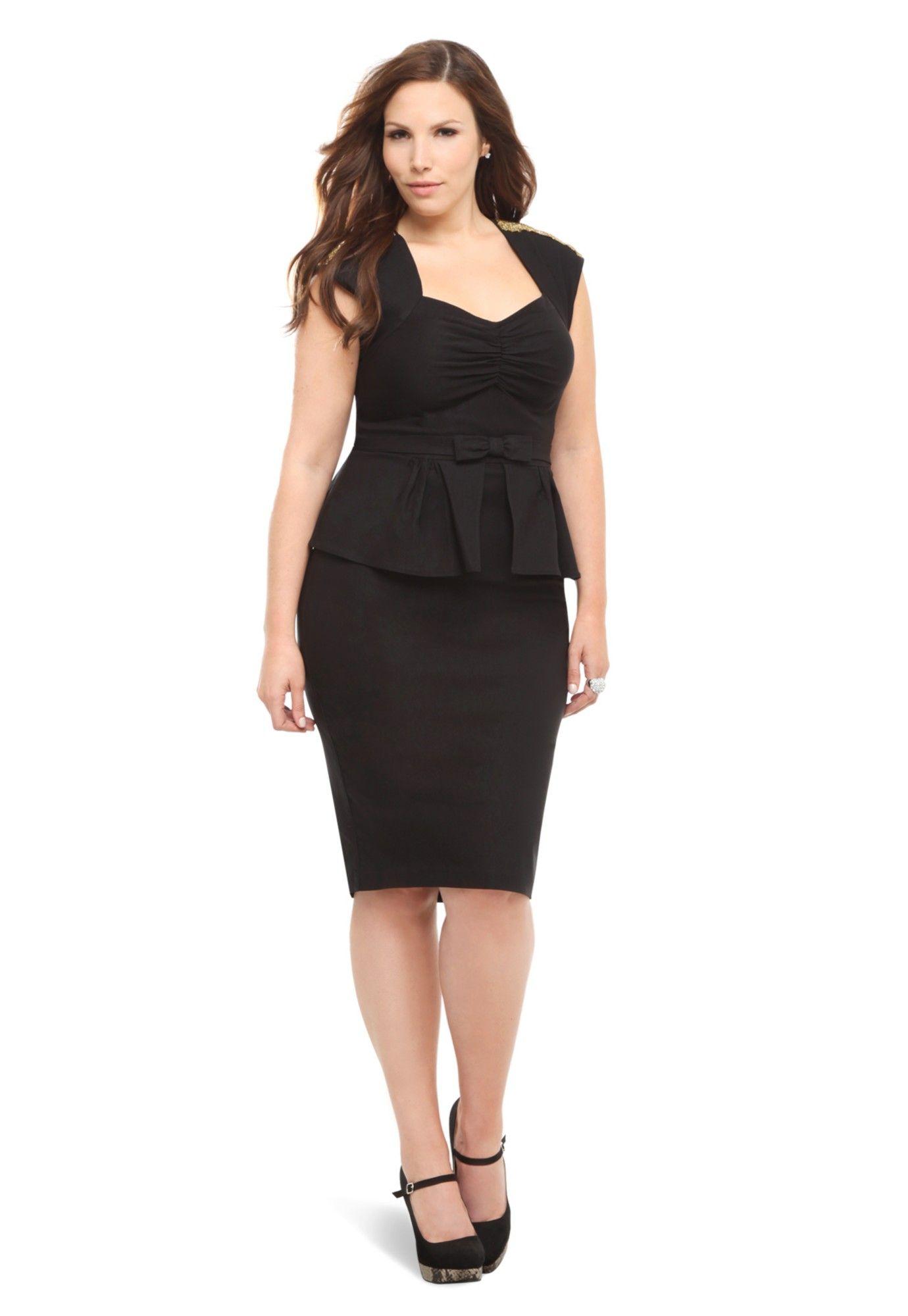 81f34a243e9 Black With Gold Beads Peplum Icon Dress plus size